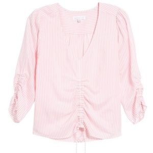 Socialite cinched striped top sz small.
